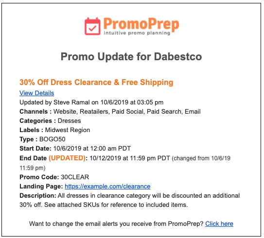 Email Alerts - Promo Updated