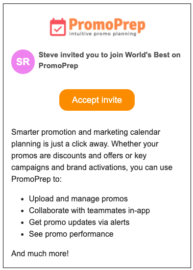 New User Email Invitation