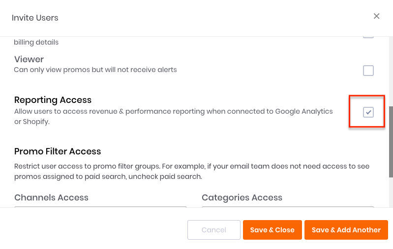 User Performance Access Checkbox