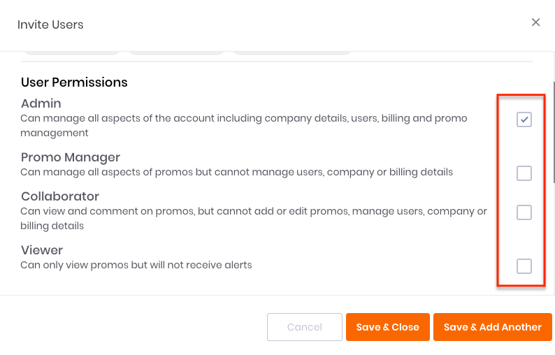 User Permission Selection