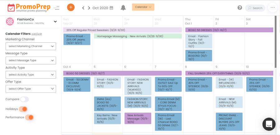 marketing calendar color groups